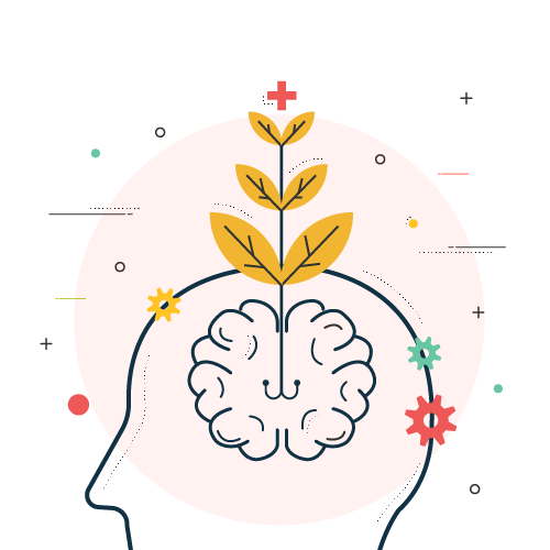 illustrations symbolisant les expériences avec un cerveau en floraison